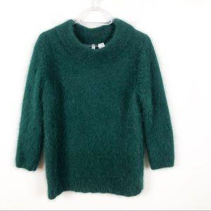 Anthropologie Green Bedford Mock Neck Sweater
